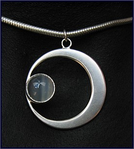 Full moon handcrafted jewellery, unique chocker/necklace made with sterling silver and moonstone
