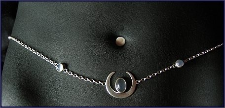 Luna handmade unique belly and waist chain jewelry  made with sterling silver and moonstone